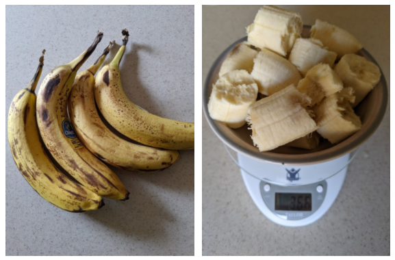 bananas with brown spots and 366 grams of peeling banana chunks in a bowl on a scale