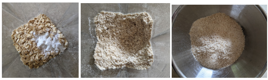 Three images: oats and baking soda, blended oats and soda, and blend poured in a bowl
