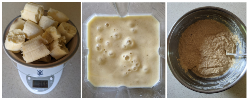 Three images: banana chunks on the scale, blended banana and eggs, and dry and wet ingredients mixed.