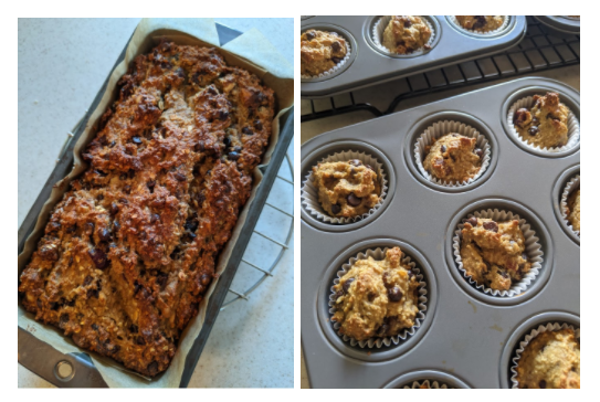 Images of banana bread loaf and mini muffins in their pans.