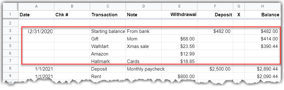 Google Sheet showing the added starting balance and outstanding commitments