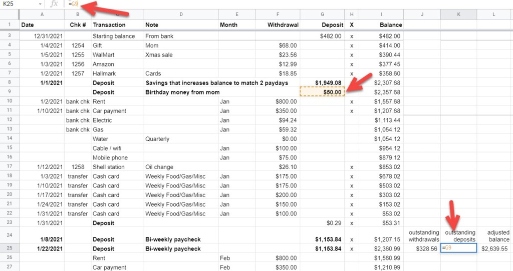 google sheet - shows outstanding deposit formula for the example