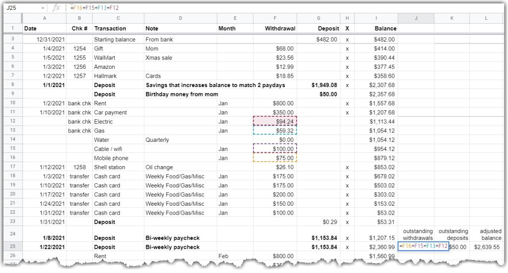 google sheet - shows outstanding withdrawals for the example