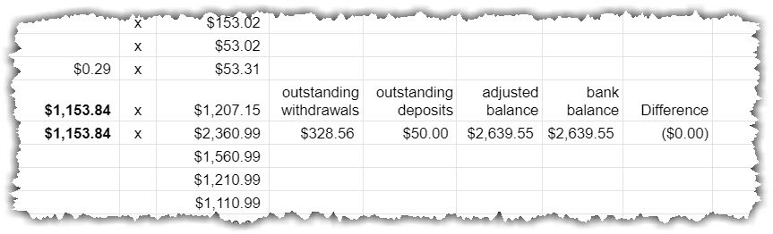 google sheet - Compares the tracker adjusted balance to the bank