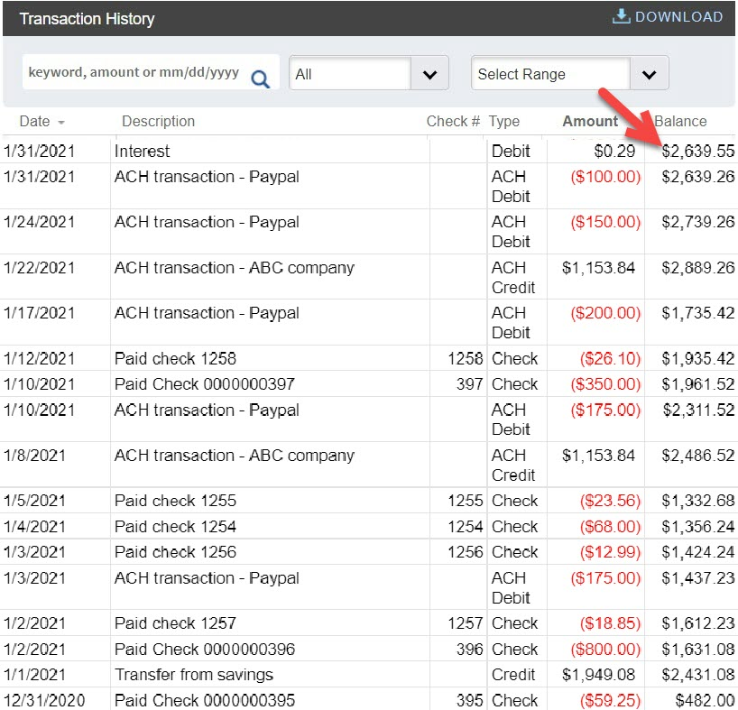 A mock up of a bank statement that fits with the example tracker