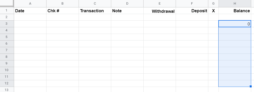 Google Sheet showing cells highlighted in column H