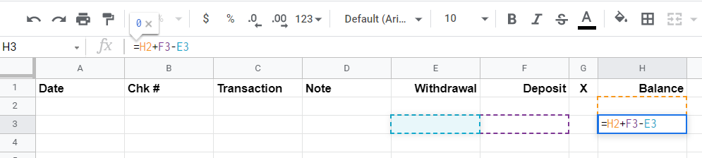 Google Sheet showing the formula : =H2+F3-E3 entered in row 3 under column H
