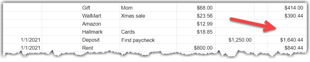 Google Sheet screenshot showing cells without the balance formula