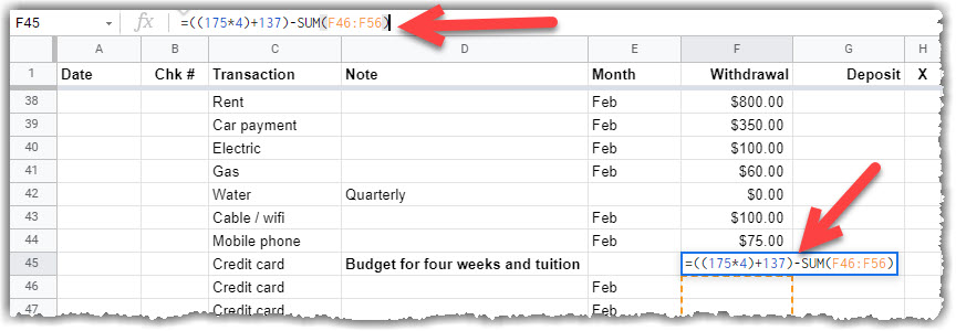 google sheet with  The credit card budget with cash and tuition