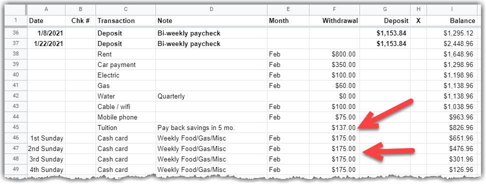 google sheet Shows February with a tuition payoff plan.