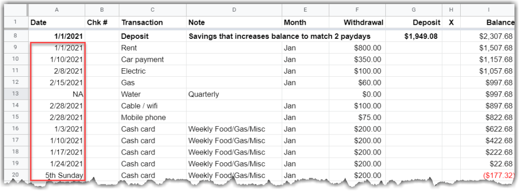 google sheet - shows an incurred method and date field shows when it was paid, not due