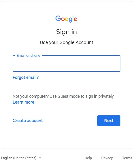 Google sign in interface
