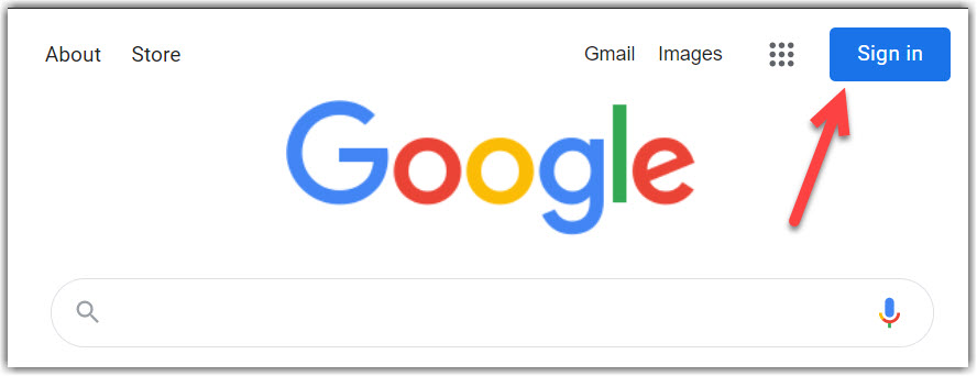 Screenshot showing the blue google sign in button in the top right corner of the browser page