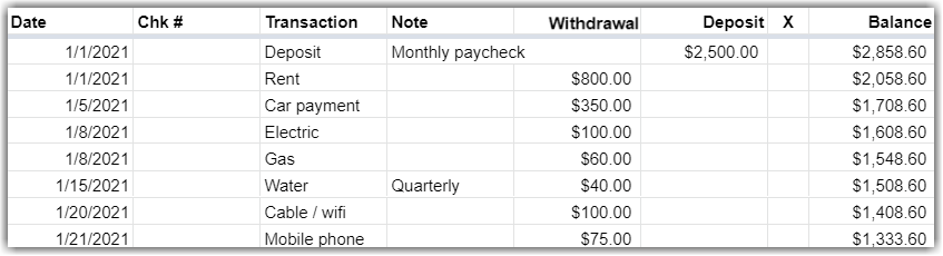 Google Sheet Listing Income and Expenses with a Running Balance