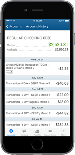 Cell phone showing a bank app with balance of $2,520.31.