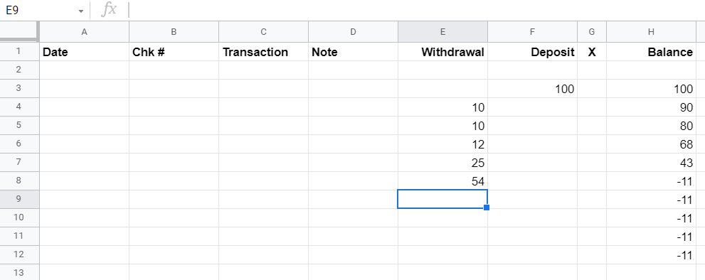 Google Sheet showing the balance formula computing the values entered in columns E and F