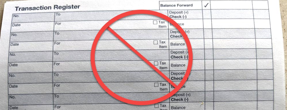 """Paper check register with a symbol suggesting """"not allowed"""""""