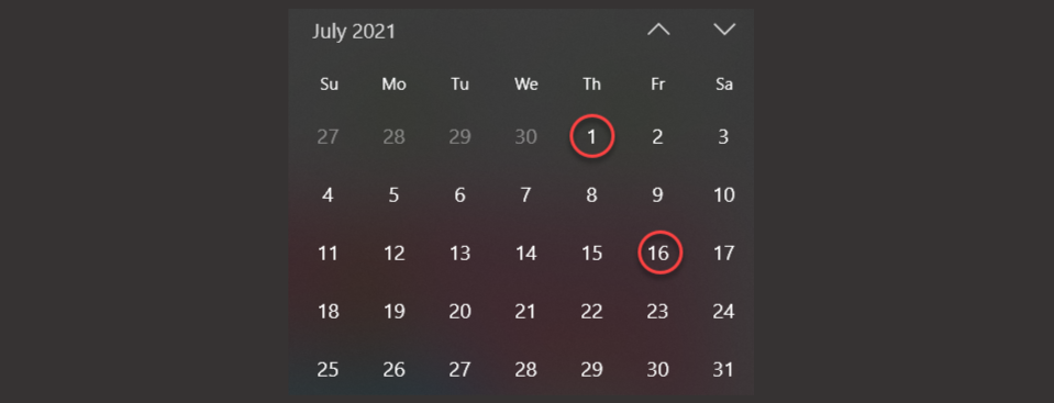 July calendar showing a hypothetical payday of the 1st and 16th